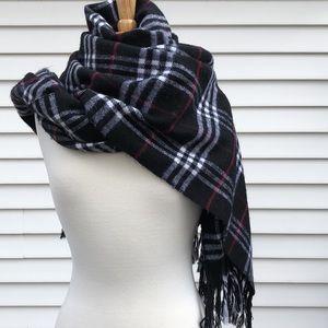 Vintage Cashmere Royal Rossi black plaid scarf